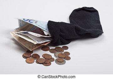 geld, in, a, ols, socke