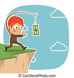 geld, indiër, achtervolgen, klip, zakenman