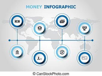geld, infographic, ontwerp, iconen