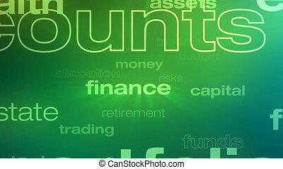 geld, investition, wörter, schleife