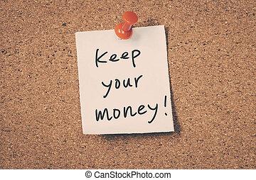 geld, jouw, bewaren