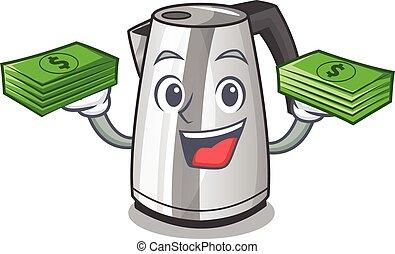 geld, ketel, elektrisch, keuken, mascotte