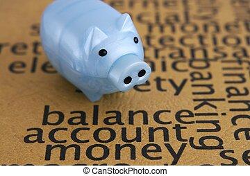 geld, konto, begriff, gleichgewicht