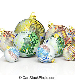 geld, kugeln, weihnachten, beschaffenheit