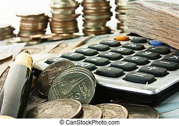 geld, kugelschreiber, taschenrechner