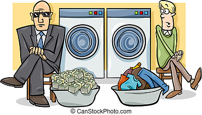 geld laundering, abbildung, karikatur