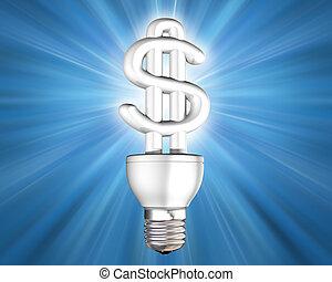 geld, licht, besparing, verlicht, bol