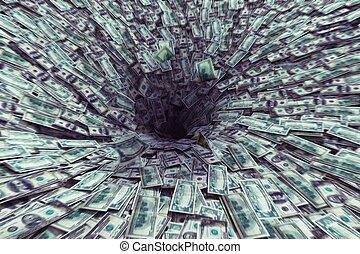 geld, loch, schwarz