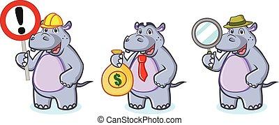 geld, mascotte, vector, nijlpaard