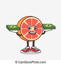 geld, maskottchen, zeichen, pampelmuse, karikatur, hände