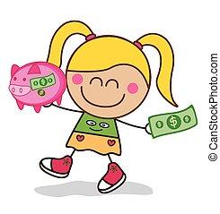 geld, meisje, besparing, piggy bank