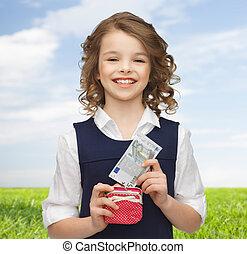 geld, meisje, papier, buidel, vrolijke