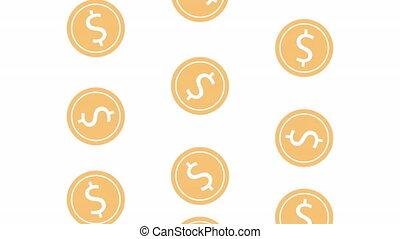 geld, muntjes, animatie, regen, contant