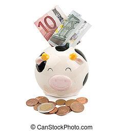 geld, muntjes, zacht, piggy