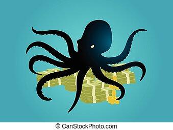 geld, oktopus, tentakel, besitz, es ist