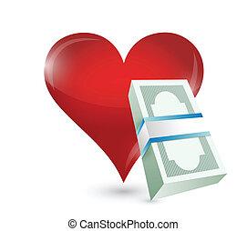 geld, ontwerp, illustratie, hart
