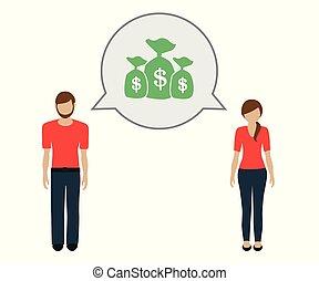 geld, over, vrouw, praatje, man