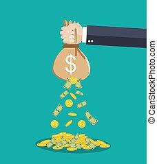 geld, overhandiig zak, vasthouden, zakenman, spotprent