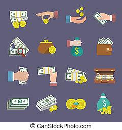 geld, pictogram, plat