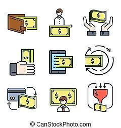 geld, pictogram, set, kleur