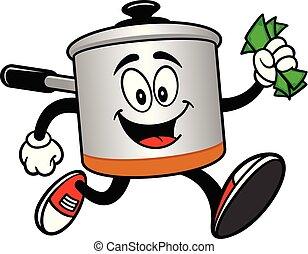geld, pot, het koken, rennende