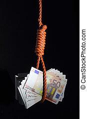 geld, problems., wirtschaftlich, schlinge, hängender