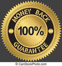 geld, procent, borg staan voor, gaan, back, honderd