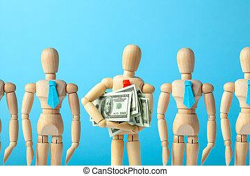 geld, recruitment., keuze, testament, brengen, partij, werknemer, leider, personeel