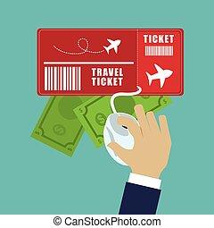 geld, reizen, online, ticket, toerist