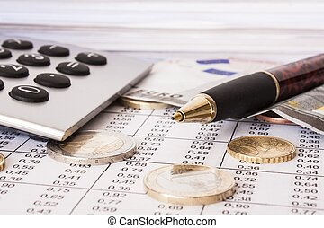 geld, rekeningen, en, rekenmachine, diepte van gebied
