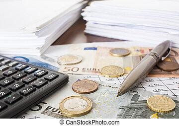 geld, rekeningen, en, rekenmachine