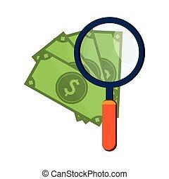 geld, rekeningen, vergroten, pictogram, glas
