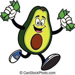 geld, rennende , avocado, mascotte