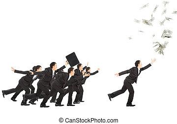 geld, rennende , opgewekte, zakenman