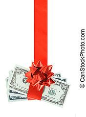 geld, rood lint, cadeau, hangend