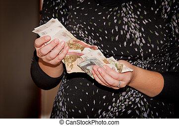 geld, -, roubles, hände, russische, halten