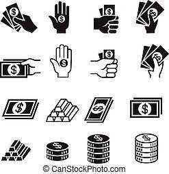 geld, satz, hand, ikone