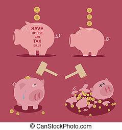 geld, set, besparing, piggy bank