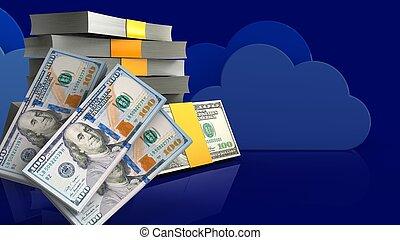 geld, stapel, 3d