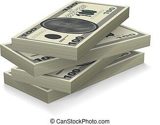 geld, stapel, schatten