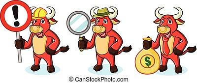 geld, stier, rood, mascotte