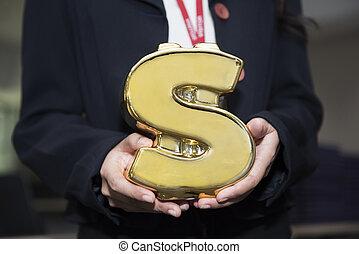 geld symbol, hand, form, schweinchen, besitz, bank