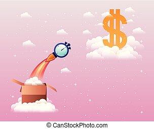 geld symbool, op, raket, start