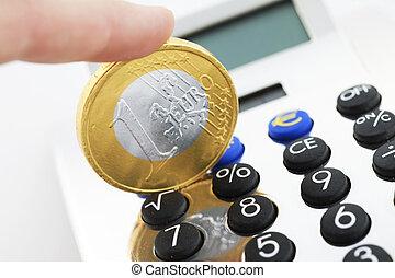 geld, taschenrechner, aus