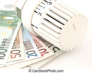 +, geld, termostato