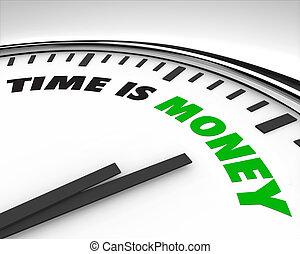 geld, tijd, -, klok