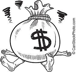 geld, vector, problemen