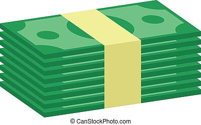 geld, vector, stapel, pictogram