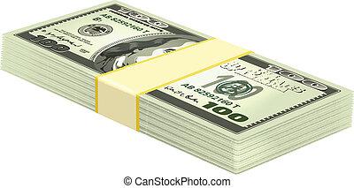 geld, vector, stapel