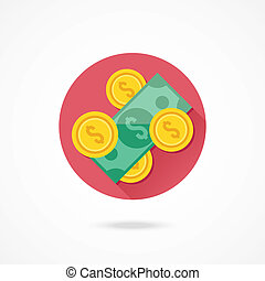 geld, vektor, ikone